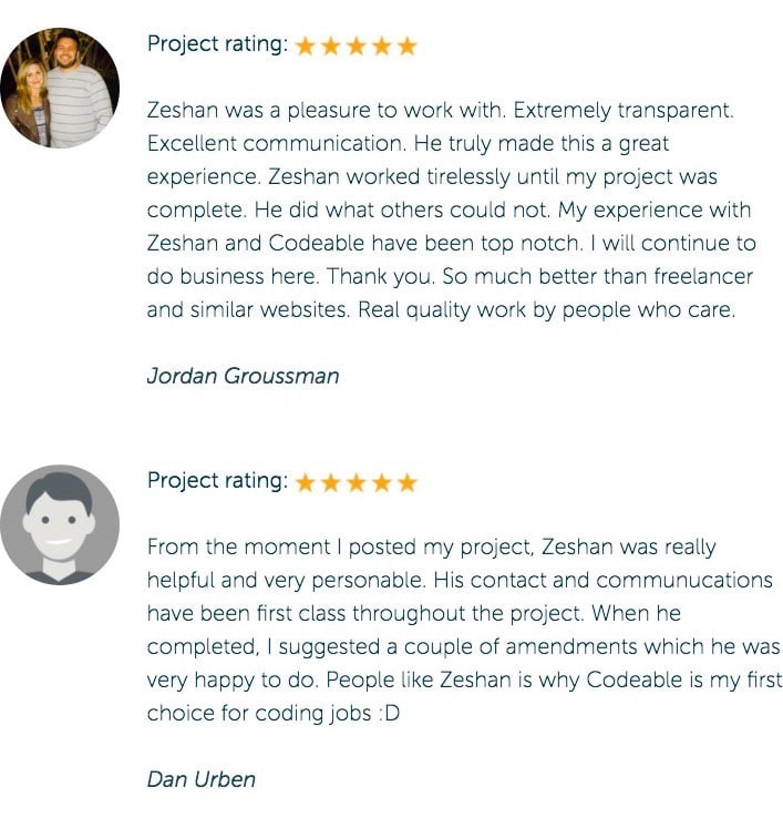 Zeshan Ahmed Codeable Reviews
