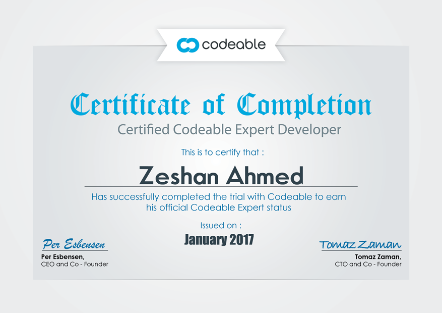 Zeshan Ahmed Codeable Certificate